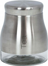 Sabichi Brushed Stainless Steel Glass Storage Screw Top Jar - Tea - 1.7L