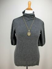 XL SEMANTIKS Mock Neck Sweater Gray 100% Cashmere Tissueweight Half Sleeve