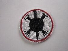 "3"" TURTLE GLASS BEADED ROSETTES TRIBAL NATIVE CRAFTS LEATHER  REGALIA POW WOW 7A"