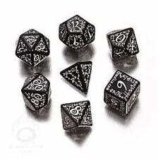 Q-Workshop Elven RPG Dice Set (7 Polyhedral) Black & White SELV05