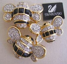 Signed Swan Swarovski  Pave' Triple Bee Brooch Pin NEW
