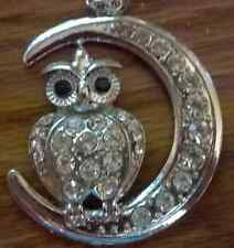 NEW WHITE GOLD RHINESTONE CRYSTAL OWL MOON NECKLACE PENDANT EARRING SET LONG