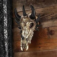 UNIQUE WALL TROPHY HORNED DRAGON SKULL SCULPTURE WALL DECOR NEW