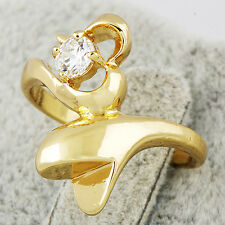 Engagement Wedding Heart Womens Ring Lot Clear CZ Yellow Gold Filled Size 7.25