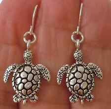 LITTLE HATCHLING BABY LOGGERHEAD SEA TURTLE PIERCED EARRINGS SILVER BEACH OCEAN