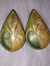 Vintage 80s Fall Colors Large Teardrop Shaped Pierced Earrings