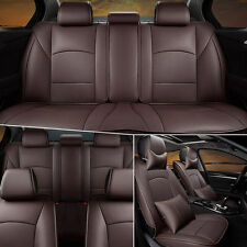 Car Seat Cover For Ford F-150 2010-2016 PU Leather Front & Rear w/Pillows Coffee