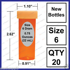 20 NEW Size 6 Dram Safety Small Empty RX Prescription Pill Bottles Craft Storage