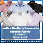 Ladies Short Sleeve Business Shirt Berlin Semi Fitted Corporate Women's Stretch