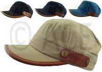 Mens Womens 100% Cotton Military Hats Cadet Hat Cap with Leather Trim
