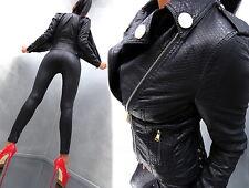 NEU 2017 LEDER OPTIK SCHWARZ LEATHER LOOK Damen Jacke Mantel P51 Blazer Coat M