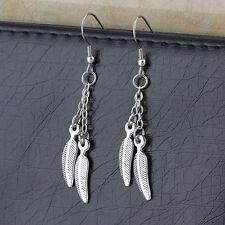 Fashion Stainless Steel Women Leaf Design Silver Charm Eardrop Dangle Earrings