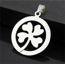 FashionWomens Men's Clover Silver 316L Stainless Steel Titanium Pendant Necklace