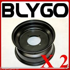 "2X Black 10"" Inch 90mm Hole 4 Stud Front Wheel Rim Quad Dirt Bike ATV Buggy"