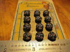 Antique/Vtg La Mode Black ,Gold, Blue Glass Buttons 12pc. Card