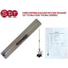 COBRA  ANTENNA IN ACCIAIO VHF O UHF VEICOLARE 115~175 Mhz O 400~470 Mhz TARABILE