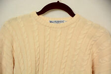 Vintage Burberry of London Cotton Cable Knit Crewneck Sweater Cream 38 Med  #288
