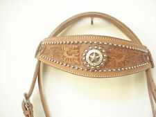 NEW  WESTERN BUCKROO CARVED LEATHER HORSE HEADSTALL