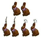 CHOCOLATE EASTER BUNNY STUD CLIP PIERCED OR CLIP ON DANGLE EARRINGS - 4 CHOICES