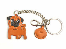 Pug Handmade 3D Leather Keychain Dog Bag/Ring Charm *VANCA* Made in Japan #26069