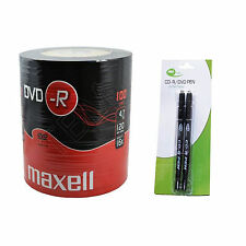 100 Maxell DVD-R 4.7GB (16x) Shrink Wrap+2 Black Neo Twin Tipped CD/DVD Pen