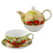New set of cup and teapot strawberry Fine Bone China LANCASTER in a luxury box