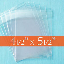 """100 Clear Cello Bags, 4.5"""" x 5.5"""" Resealable Poly Cellophane, 4 1/2 x 5 1/2 inch"""