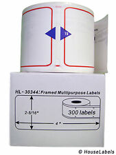 2 Rolls of 300 Framed Multipurpose Labels for DYMO® LabelWriters® 30344 BPA Free