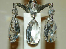 "5~""Asfour 30% Lead Crystal"" 50mm Silver TearDrop Chandelier~Lamp Prisms~NEW!"