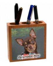 Chihuahua   chocolate color    Personalized  Pencil and Pen Holder
