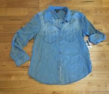NWT Women's Light Wash TERRE BLEUE L/S Roll Tab Shirt Size SMALL S