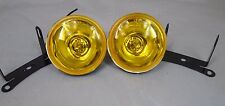 "3"" ROUND ION YELLOW AMBER CAR TRUCK SUV HALOGEN FOG LIGHTS KIT SET PAIR"