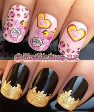 NAIL ART SET #58. PINK PANTHER WATER TRANSFERS/DECALS/STICKERS & GOLD LEAF