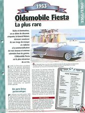 Oldsmobile Fiesta Ninety-Eight General Motors 1953 Car Auto Retro FICHE FRANCE