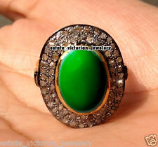Vintage Estate 1.68Ct Rose Cut Diamond Emerald Jewelry .925 Sterling Silver Ring