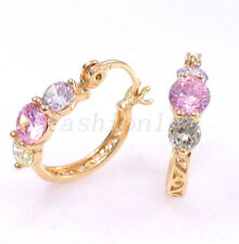 Women Pink CZ Cubic zirconia 18K Yellow Gold Plated Xmas Birthday hoops Earrings