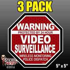 "3 Pack Warning 24 hour Video Surveillance Stickers  ""OCT"" RED Alarm Decal FS060"