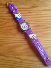 Kids Girls Hello Kitty Purple Wrist Watch Analog Silicone Strap Steel Back