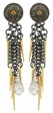 Zest Swarovski Crystal Golden Needle Chain Pierced Earrings Black