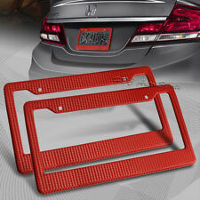 2 x JDM Red Carbon Fiber Look License Plate Frame Cover Front & Rear Universal 4