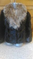 new design vintage 100% real black  mink + silver fox fur coat