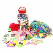 Kids Grafix Mega Craft Jar Giant Art Set Pom Poms Beads Paper Letters Childrens