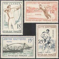 France 1958 Sports/Games/Archery/Wrestling/Boules/Jousting 4v set (n32925)