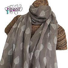 GREY & WHITE LITTLE TREES DESIGN SCARF LADIES SUPERB SOFT QUALITY