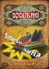 THE DODGEMS  VINTAGE STYLE FUNFAIR CIRCUS METAL SIGN MANCAVE HIS/HERS GIFT