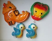 Vtg Lot Miller Chalkware Anthropomorphic  Apple Hook Mother Shoe Bluebirds