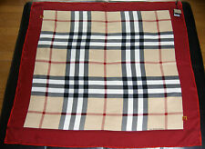 New Authentic Women's Burberry Large Beige Check Red Border Silk Scarf
