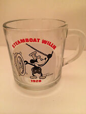 Disney 1928 Mickey Mouse - Steamboat Willie Clear Glass Cup/Mug Anchor Hocking