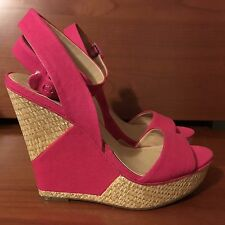New BCBG Generation Espadrille Wedge Sandal Platform Pump Pink Size 8.5