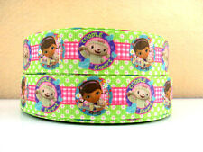 1 METRE NEW DOC MCSTUFFINS CUDDLE  EXPERT RIBBON SIZE 1 INCH BOWS HEADBANDS CAKE